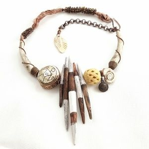 Artisan // Polymer Faux Fossil Spikes Necklace